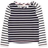 Jigsaw Girls Breton Stripe Button T-Shirt