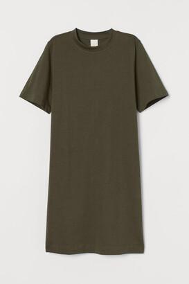 H&M Cotton T-shirt Dress - Green