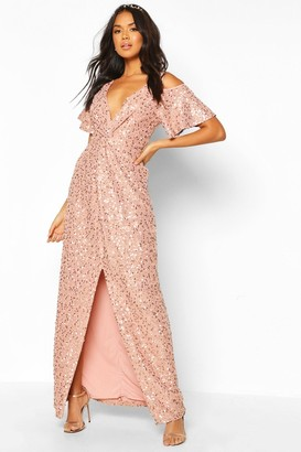 boohoo Bridesmaid Occasion Sequin Knot Front Maxi Dress