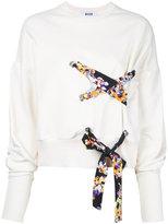 MSGM lace detail sweatshirt - women - Cotton - XL