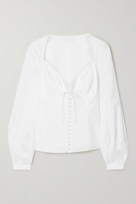 Jonathan Simkhai June Pintucked Cotton-blend Poplin Blouse - White