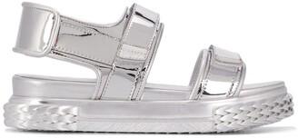 Giuseppe Zanotti Saw-Sole Touch-Strap Metallic Sandals