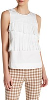 Tibi Poplin Sleeveless Pleat Tank