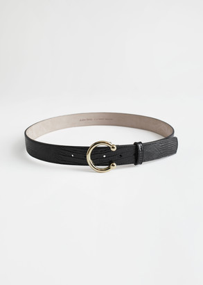 And other stories Croc Leather Circle Buckle Belt