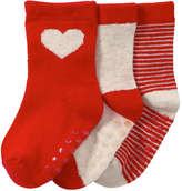 Joe Fresh Baby Girls' 3 Pack Grip Crew Socks, Red (Size 0-12)