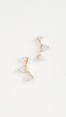 Adina 14k Gold Three Diamond Amigos Curve Posts
