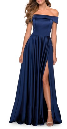 La Femme Off the Shoulder Satin Ballgown