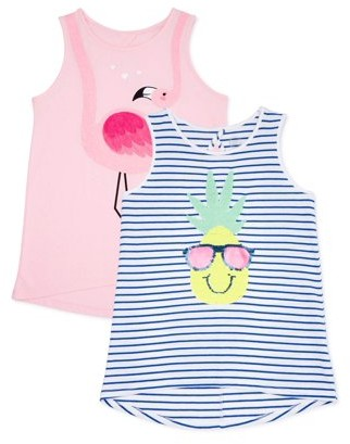 Solid & Striped Wonder Nation Girls Embellished Tank Tops, 2-Pack, Sizes 4-18 & Plus