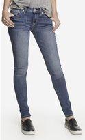 Express Medium Wash Mid Rise Thick Stitch Jean Legging