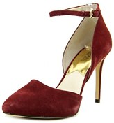 MICHAEL Michael Kors Georgia Ankle Strap Women Pointed Toe Canvas Burgundy Heels.