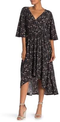WEST KEI Floral Print Bell Sleeve High/Low Dress