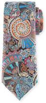 Ermenegildo Zegna Peacock Printed Silk Tie, Brown