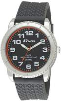 Ravel Men's 5ATM Quartz Watch with Black Dial Analogue Display and Grey Silicone Strap R5-20.13G