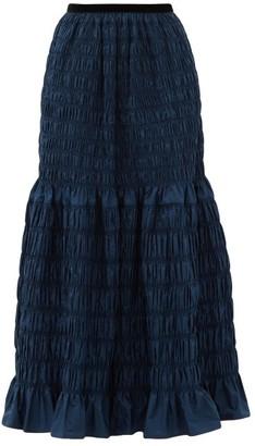 Molly Goddard Emanuelle Shirred-taffeta Skirt - Navy