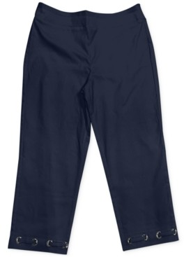 JM Collection Petite Loop Grommet-Hem Tummy-Control Capri Pants, Created for Macy's