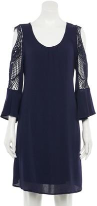 Nina Leonard Women's Crochet Cold-Shoulder Swing Dress