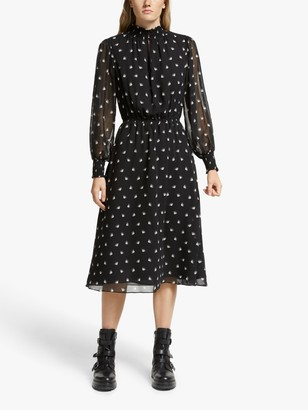 Somerset by Alice Temperley Fan Print Dress, Black