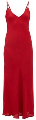 Mes Demoiselles Mabille V-neck Satin Slip Dress - Womens - Red