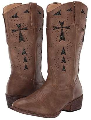 Roper Glitter Cross Flextra (Vintage Tan Faux Leather/Glitter Underlay) Cowboy Boots