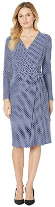 Lauren Ralph Lauren Print Jersey Long Sleeve Dress (Parisian Blue/Colonial Cream) Women's Clothing