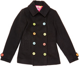 LittleMissMatched Black & Rainbow Double-Breasted Peacoat
