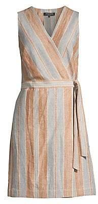 Lafayette 148 New York Women's Oaklyn Linen Striped Wrap Romper