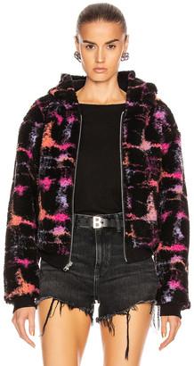 John Elliott Reversible Fleece Lined Zip Hoodie in Black & Highlighter   FWRD