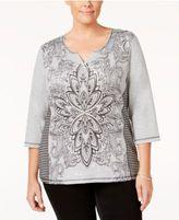 Karen Scott Plus Size Printed Split-Neck Top, Only at Macy's