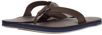 Vineyard Vines Pop Stripe Leather Flip-Flops (Mudslide) Men's Shoes