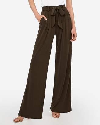 Express High Waisted Knit Wide Leg Paperbag Pant