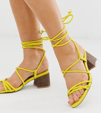 Asos Design DESIGN Wide Fit Topaz strappy tie leg sandals in neon yellow