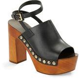 Sigerson Morrison Quella Wooden Platform Leather Clog Sandals
