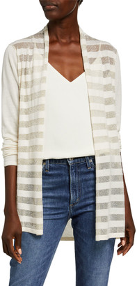 Neiman Marcus Superfine Metallic Striped Long-Sleeve Open Cardigan