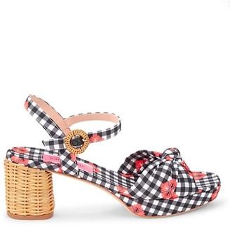 Kate Spade Hayden Gingham Floral Block-Heel Sandals