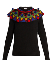 Stella Jean Pompom-embellished wool and cashmere-blend sweater