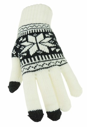Glamour Girlz Ladies Soft Knit Warm Winter Touch Screen Fair Isle Snowflakes Gloves One Size (Red)