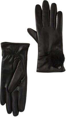 UGG Genuine Dyed Shearling Pompom Leather Gloves