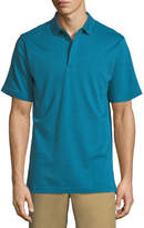 Bugatchi Heathered Cotton Hidden-Button Polo Shirt