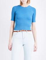 Sandro Chevron-detail short-sleeved knitted jumper