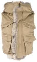 DSQUARED2 coyote fur trimmed gilet - women - Cotton/Calf Leather/Polyamide/Coyote Fur - 40