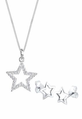 Elli Women Jewelry Set 925 Sterling Silver Star Swarovski Crystals Length 45cm 0906461016