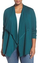 Sejour Cotton Blend Drape Front Cardigan (Plus Size)