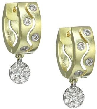 Meira T 14K Yellow Gold & Diamond Drop Thick Huggie Hoop Earrings