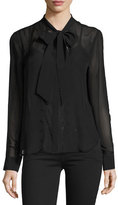 Equipment Leema Tie-Neck Blouse, Black
