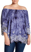 Bobeau Tie Dye Embroidered Peasant Blouse (Plus Size)