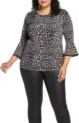 MICHAEL Michael Kors Cheetah Print Flare Sleeve Top
