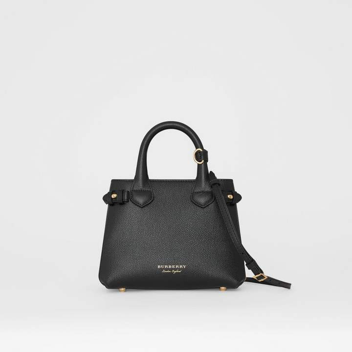 Burberry The Baby Banner in Leather and House Check, Black