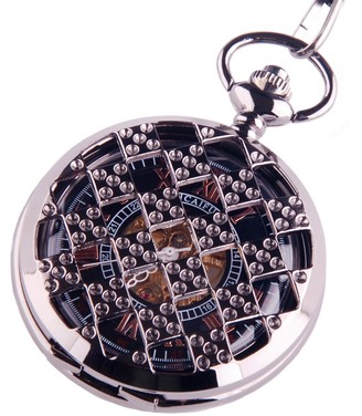 Shoppewatch Black Pocket Watch Steampunk Skeleton Mechanical Movement Hand Wind Roman Numerals Cosplay PW-71