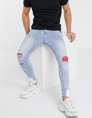 Good For Nothing skinny jeans in light blue with distressing and patches