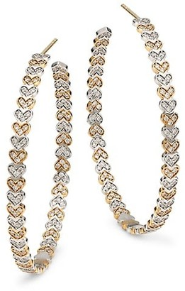 Sydney Evan 14K Yellow Gold, White Gold & Diamond Large Tiny Eternity Heart Hoop Earrings